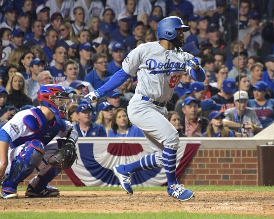 NLCS Game One-Andrew Toles--Los Angeles Dodgers vs Chicago Cubs  Saturday, October 15, 2016 at Wrigley Field in Chicago,Illinois. Photo by Jon SooHoo/©Los Angeles Dodgers,LLC 2016