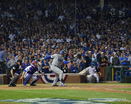NLCS Game One-Adrian Gonzalez knocks in two on single-Los Angeles Dodgers vs Chicago Cubs  Saturday, October 15, 2016 at Wrigley Field in Chicago,Illinois. Photo by Jon SooHoo/©Los Angeles Dodgers,LLC 2016