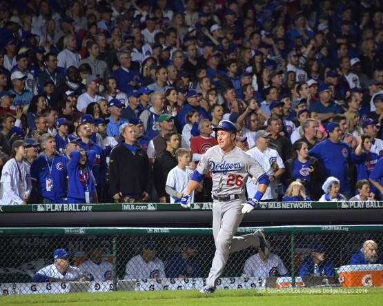 NLCS Game One-Chase Utley scores-Los Angeles Dodgers vs Chicago Cubs  Saturday, October 15, 2016 at Wrigley Field in Chicago,Illinois. Photo by Jon SooHoo/©Los Angeles Dodgers,LLC 2016