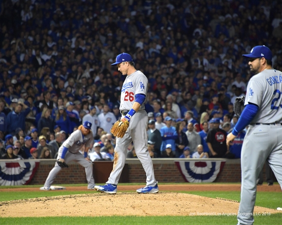 NLCS Game One-Chase Utley on the hill..to chat-Los Angeles Dodgers vs Chicago Cubs  Saturday, October 15, 2016 at Wrigley Field in Chicago,Illinois. Photo by Jon SooHoo/©Los Angeles Dodgers,LLC 2016