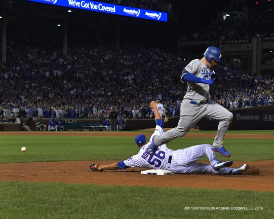 NLCS Game One-Joc Pederson-Los Angeles Dodgers vs Chicago Cubs  Saturday, October 15, 2016 at Wrigley Field in Chicago,Illinois. Photo by Jon SooHoo/©Los Angeles Dodgers,LLC 2016