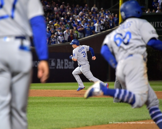 NLCS Game One-Joc Pederson scores on Andrew Toles hit-Los Angeles Dodgers vs Chicago Cubs  Saturday, October 15, 2016 at Wrigley Field in Chicago,Illinois. Photo by Jon SooHoo/©Los Angeles Dodgers,LLC 2016