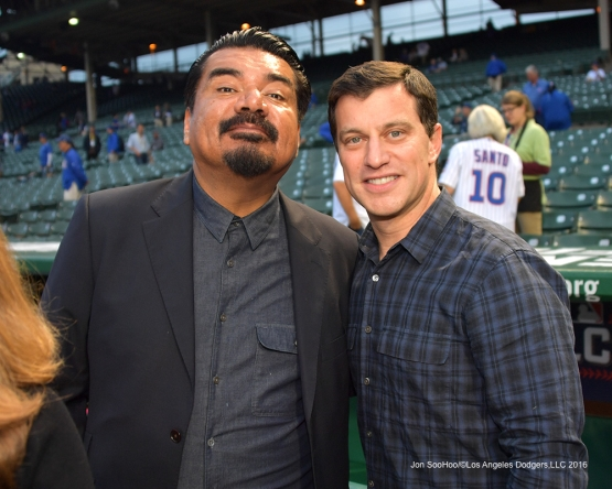 NLCS Game Two-George Lopez and Andrew Friedman-Los Angeles Dodgers vs Chicago Cubs  Sunday, October 16, 2016 at Wrigley Field in Chicago,Illinois. Photo by Jon SooHoo/©Los Angeles Dodgers,LLC 2016