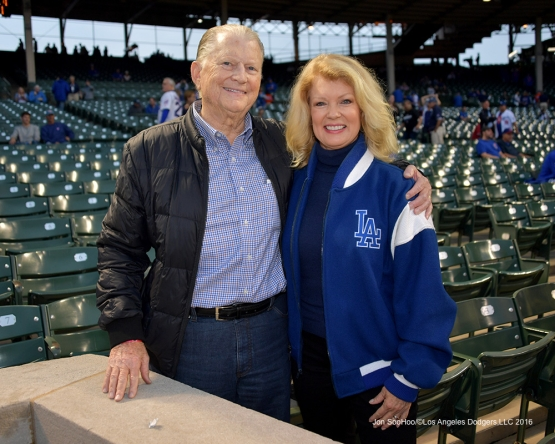 NLCS Game Two-Great Dodger fans Burt Sugarman and Mary Hart-Los Angeles Dodgers vs Chicago Cubs  Sunday, October 16, 2016 at Wrigley Field in Chicago,Illinois. Photo by Jon SooHoo/©Los Angeles Dodgers,LLC 2016
