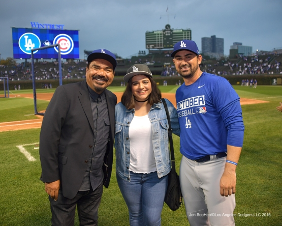 NLCS Game Two-George Lopez and Adrian Gonzalez-Los Angeles Dodgers vs Chicago Cubs  Sunday, October 16, 2016 at Wrigley Field in Chicago,Illinois. Photo by Jon SooHoo/©Los Angeles Dodgers,LLC 2016