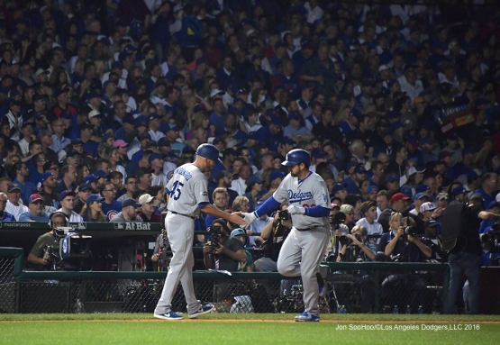 NLCS Game Two-Adrian Gonzalez homers for the only run of the game-Los Angeles Dodgers vs Chicago Cubs  Sunday, October 16, 2016 at Wrigley Field in Chicago,Illinois. Photo by Jon SooHoo/©Los Angeles Dodgers,LLC 2016