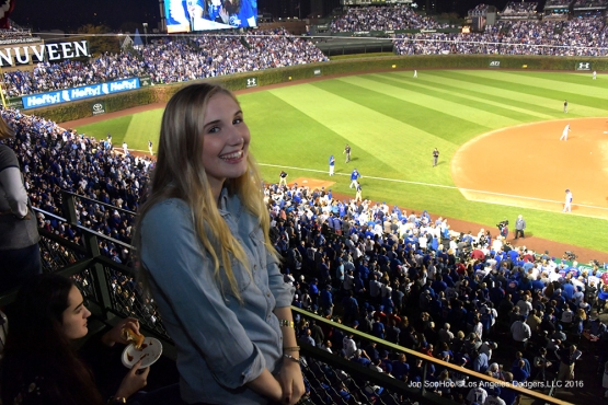 NLCS Game Two-Birthday girl Samantha Walter--Los Angeles Dodgers vs Chicago Cubs  Sunday, October 16, 2016 at Wrigley Field in Chicago,Illinois. Photo by Jon SooHoo/©Los Angeles Dodgers,LLC 2016