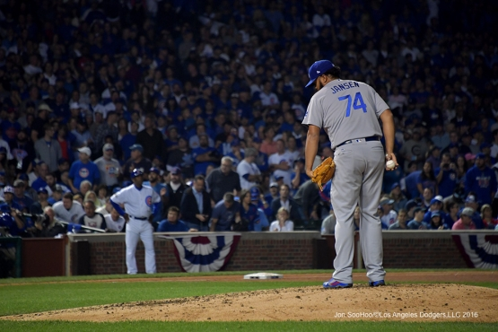 NLCS Game Two-Kenley Jansen-Los Angeles Dodgers vs Chicago Cubs  Sunday, October 16, 2016 at Wrigley Field in Chicago,Illinois. Photo by Jon SooHoo/©Los Angeles Dodgers,LLC 2016