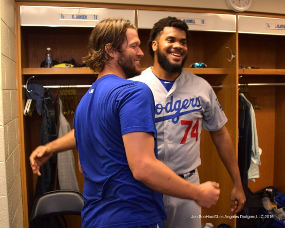 NLCS Game Two-Clayton Kershaw and Kenley Jansen-Los Angeles Dodgers defeat the Chicago Cubs 1-0 Sunday, October 16, 2016 at Wrigley Field in Chicago,Illinois. Photo by Jon SooHoo/©Los Angeles Dodgers,LLC 2016