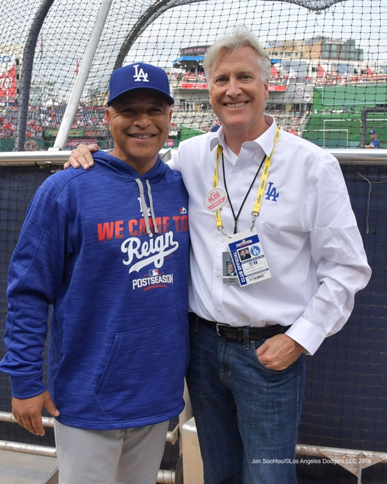 2016 NLDS Game One---Dave Roberts and Mark Walter--Los Angeles Dodgers vs Washington Nationals  Friday, October 7, 2016 at Nationals Park in Washington,DC.  Photo by Jon SooHoo/©Los Angeles Dodgers,LLC 2016