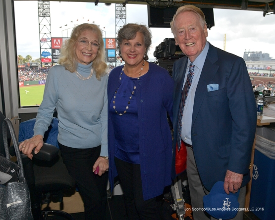 Vin and Sandi with Sherri Patton--Vin Scully calls his last game--Los Angeles Dodgers at San Francisco Sunday, October 2, 2016 at AT&T Park. Photo by Jon SooHoo/©Los Angeles Dodgers,LLC 2016