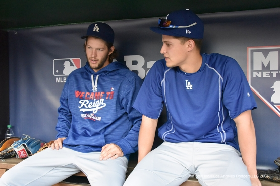 Clayton Kershaw and Corey Seager--Los Angeles Dodgers workout Thursday, October 6, 2016 at Nationals Park in Washington,DC. Photo by Jon SooHoo/©Los Angeles Dodgers,LLC 2016