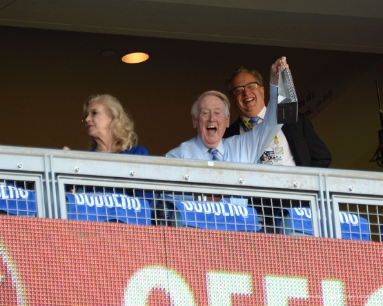 2016 NLCS Game 5---Vin Scully-Chicago Cubs vs Los Angeles Dodgers Thursday, October 20, 2016 at Dodger Stadium in Los Angeles, California. Photo by Jon SooHoo/© Los Angeles Dodgers, LLC 2016