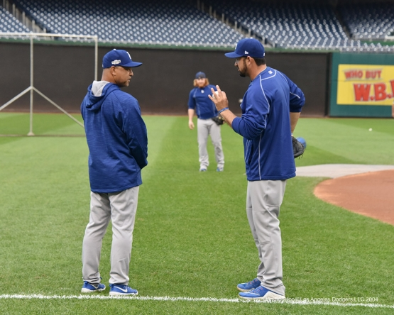 Dave Roberts and Adrian Gonzalez--Los Angeles Dodgers workout Thursday, October 6, 2016 at Nationals Park in Washington,DC. Photo by Jon SooHoo/©Los Angeles Dodgers,LLC 2016