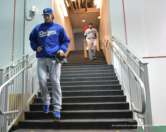 2016 NLDS Game One---Clayton Kershaw heads to the field to start the game--Los Angeles Dodgers vs Washington Nationals  Friday, October 7, 2016 at Nationals Park in Washington,DC.  Photo by Jon SooHoo/©Los Angeles Dodgers,LLC 2016