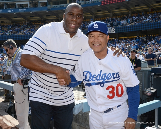 2016 NLDS Game 4---Magic and Dave--Los Angeles Dodgers vs Washington Nationals Tuesday, October 11, 2016 at Dodger Stadium in Los Angeles, California. Photo by Jon SooHoo/© Los Angeles Dodgers, LLC 2016