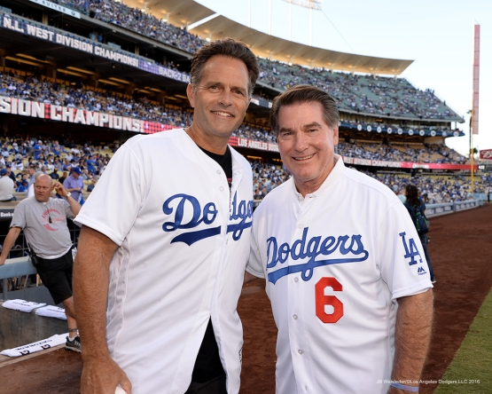 2016 NLCS Game 5--Eric Karros and Steve Garvey-Chicago Cubs vs Los Angeles Dodgers Thursday, October 20, 2016 at Dodger Stadium in Los Angeles, California. Photo by Jill Weisleder/© Los Angeles Dodgers, LLC 2016