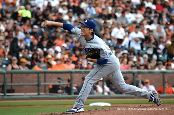 Kenta Maeda--Vin Scully calls his last game--Los Angeles Dodgers at San Francisco Sunday, October 2, 2016 at AT&T Park. Photo by Jon SooHoo/©Los Angeles Dodgers,LLC 2016