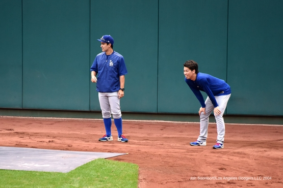 Kenta Maeda and Will Ireton--Los Angeles Dodgers workout Thursday, October 6, 2016 at Nationals Park in Washington,DC. Photo by Jon SooHoo/©Los Angeles Dodgers,LLC 2016