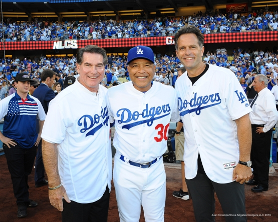 2016 NLCS Game 5---Steve Garvey, Dave Roberts, Eric Karros-Chicago Cubs vs Los Angeles Dodgers Thursday, October 20, 2016 at Dodger Stadium in Los Angeles, California. Photo by Juan Ocampo/© Los Angeles Dodgers, LLC 2016