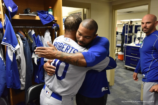 NLCS Game Six-Dave Roberts and Howie Kendrick-Los Angeles Dodgers vs Chicago Cubs Saturday, October 22, 2016 at Wrigley Field in Chicago, Illinois. Photo by Jon SooHoo/©Los Angeles Dodgers,LLC 2016