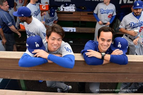 2016 NLDS Game One---Kenta Maeda and Will Ireton--Los Angeles Dodgers vs Washington Nationals  Friday, October 7, 2016 at Nationals Park in Washington,DC.  Photo by Jon SooHoo/©Los Angeles Dodgers,LLC 2016