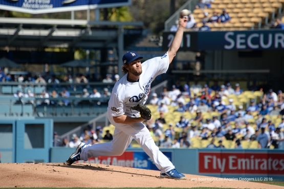 2016 NLDS Game 4---Clayton Kershaw--Los Angeles Dodgers vs Washington Nationals Tuesday, October 11, 2016 at Dodger Stadium in Los Angeles, California. Photo by Jon SooHoo/© Los Angeles Dodgers, LLC 2016