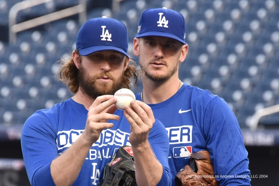 Josh Fields and Grant Dayton--Los Angeles Dodgers workout Thursday, October 6, 2016 at Nationals Park in Washington,DC. Photo by Jon SooHoo/©Los Angeles Dodgers,LLC 2016