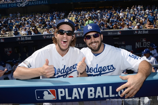 2016 NLDS Game 3---Clayton Kershaw and Rob Segedin--Los Angeles Dodgers vs Washington Nationals Monday, October 10, 2016 at Dodger Stadium in Los Angeles, California. Photo by Jon SooHoo/© Los Angeles Dodgers, LLC 2016