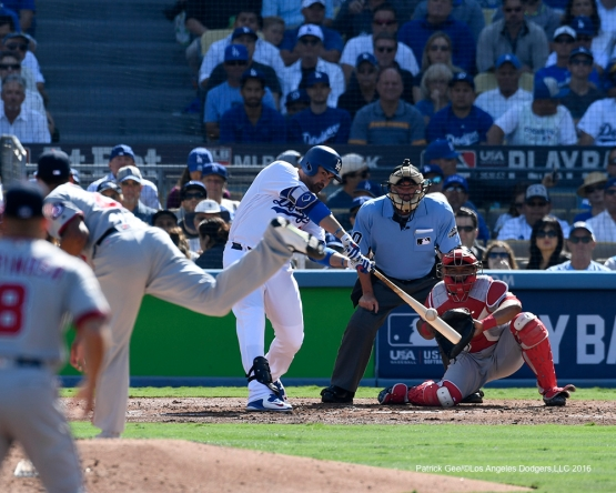 2016 NLDS Game 4---Adrian Gonzalez homers-Los Angeles Dodgers vs Washington Nationals Tuesday, October 11, 2016 at Dodger Stadium in Los Angeles, California. Photo by Patrick Gee/© Los Angeles Dodgers, LLC 2016