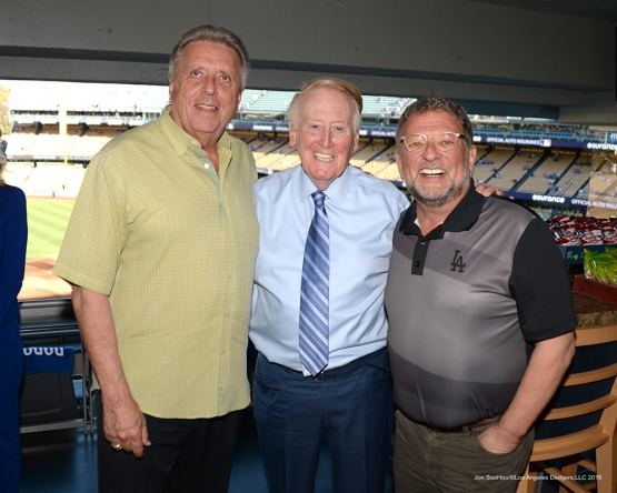 2016 NLCS Game 5---Rick Monday, Vin Scully and Charley Steiner-Chicago Cubs vs Los Angeles Dodgers Thursday, October 20, 2016 at Dodger Stadium in Los Angeles, California. Photo by Jon SooHoo/© Los Angeles Dodgers, LLC 2016