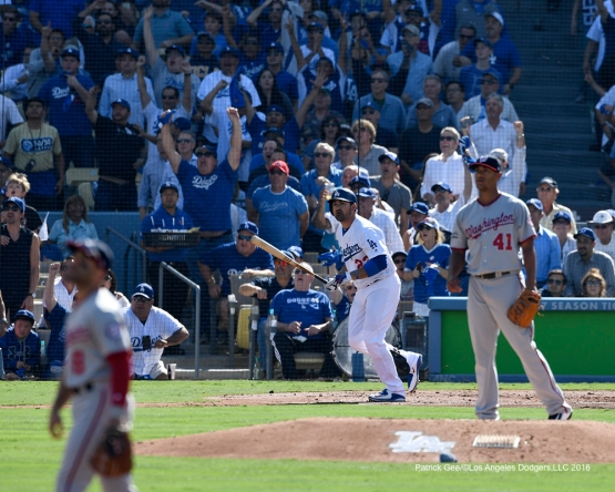 2016 NLDS Game 4---Adrian Gonzalez homers--Los Angeles Dodgers vs Washington Nationals Tuesday, October 11, 2016 at Dodger Stadium in Los Angeles, California. Photo by Patrick Gee/© Los Angeles Dodgers, LLC 2016