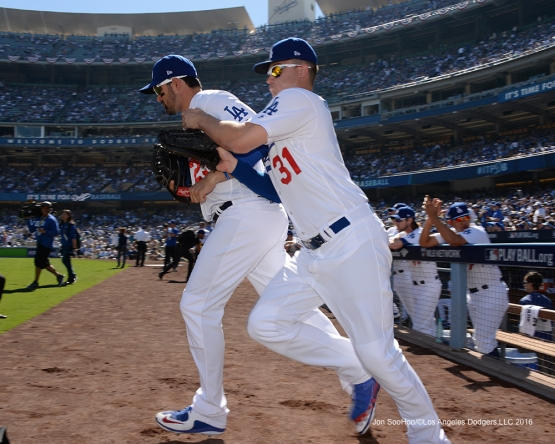 2016 NLDS Game 3---Adrian Gonzales and Joc Pederson--Los Angeles Dodgers vs Washington Nationals Monday, October 10, 2016 at Dodger Stadium in Los Angeles, California. Photo by Jon SooHoo/© Los Angeles Dodgers, LLC 2016