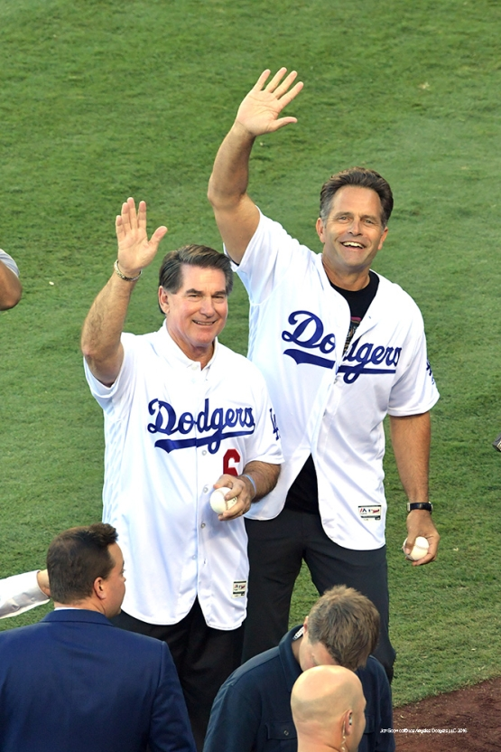 2016 NLCS Game 5---Steve Garvey and Eric Karros-Chicago Cubs vs Los Angeles Dodgers Thursday, October 20, 2016 at Dodger Stadium in Los Angeles, California. Photo by Jon SooHoo/© Los Angeles Dodgers, LLC 2016