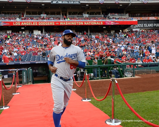 2016 NLDS Game One---Andrew Toles--Los Angeles Dodgers vs Washington Nationals  Friday, October 7, 2016 at Nationals Park in Washington,DC.  Photo by Jon SooHoo/©Los Angeles Dodgers,LLC 2016