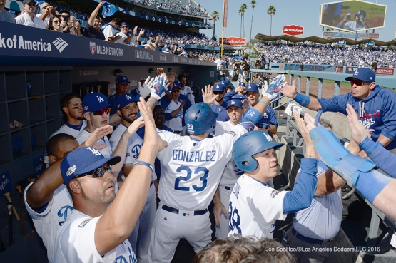 2016 NLDS Game 4---Adrian Gonzalez homers--Los Angeles Dodgers vs Washington Nationals Tuesday, October 11, 2016 at Dodger Stadium in Los Angeles, California. Photo by Jon SooHoo/© Los Angeles Dodgers, LLC 2016