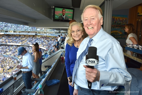 2016 NLCS Game 5---Vin and Sandy Scully-Chicago Cubs vs Los Angeles Dodgers Thursday, October 20, 2016 at Dodger Stadium in Los Angeles, California. Photo by Jon SooHoo/© Los Angeles Dodgers, LLC 2016