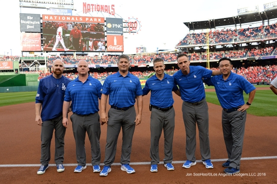 2016 NLDS Game One---Dodgers Training Staff--Los Angeles Dodgers vs Washington Nationals  Friday, October 7, 2016 at Nationals Park in Washington,DC.  Photo by Jon SooHoo/©Los Angeles Dodgers,LLC 2016