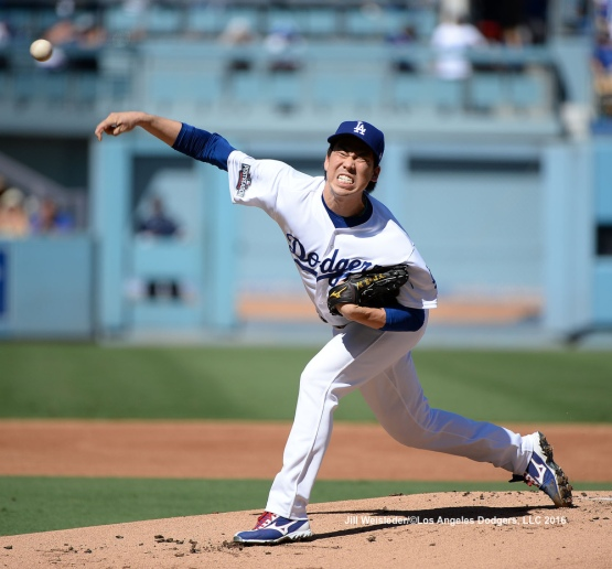 Starting pitcher Kenta Maeda throws on the mound against the Washington Nationals during Game 3 of the NLDS. Jill Weisleder/Dodgers