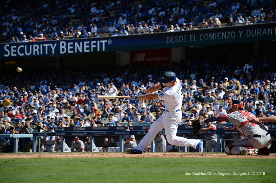 2016 NLDS Game 3---Corey Seager--Los Angeles Dodgers vs Washington Nationals Monday, October 10, 2016 at Dodger Stadium in Los Angeles, California. Photo by Jon SooHoo/© Los Angeles Dodgers, LLC 2016