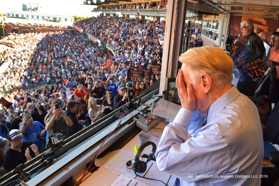 Vin Scully tears up in front of the crowd--Vin Scully calls his last game--Los Angeles Dodgers at San Francisco Sunday, October 2, 2016 at AT&T Park. Photo by Jon SooHoo/©Los Angeles Dodgers,LLC 2016