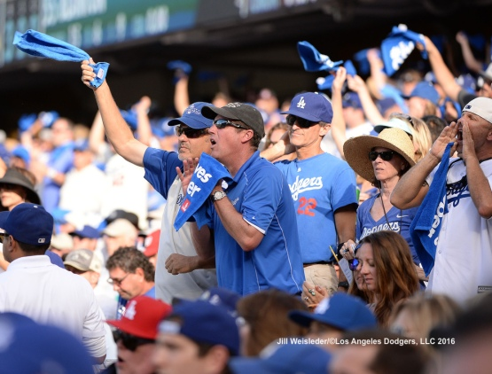 Dodger fans wave their rally towel during the game. Jill Weisleder/Dodgers
