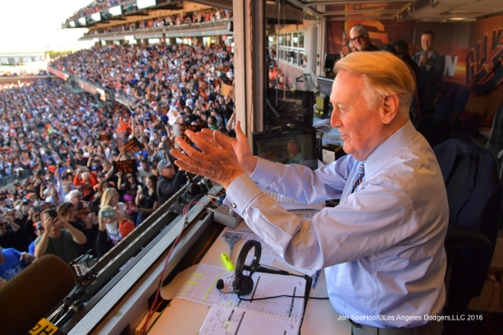 Vin waves to the crowd--Vin Scully calls his last game--Los Angeles Dodgers at San Francisco Sunday, October 2, 2016 at AT&T Park. Photo by Jon SooHoo/©Los Angeles Dodgers,LLC 2016