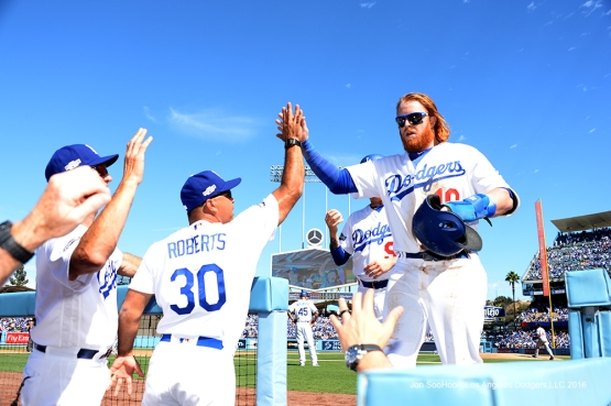2016 NLDS Game 3---Justin Turner--Los Angeles Dodgers vs Washington Nationals Monday, October 10, 2016 at Dodger Stadium in Los Angeles, California. Photo by Jon SooHoo/© Los Angeles Dodgers, LLC 2016