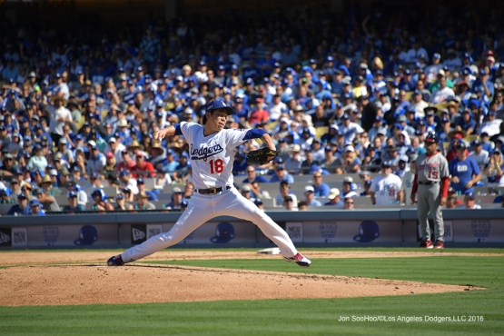 2016 NLDS Game 3---Kenta Maeda--Los Angeles Dodgers vs Washington Nationals Monday, October 10, 2016 at Dodger Stadium in Los Angeles, California. Photo by Jon SooHoo/© Los Angeles Dodgers, LLC 2016