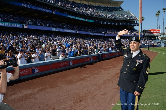 2016 NLDS Game 4---Dodgers honor Military Hero of the Game, US Army Sergeant 1st Class, Edmundo Bendana--Los Angeles Dodgers vs Washington Nationals Tuesday, October 11, 2016 at Dodger Stadium in Los Angeles, California. Photo by Jon SooHoo/© Los Angeles Dodgers, LLC 2016