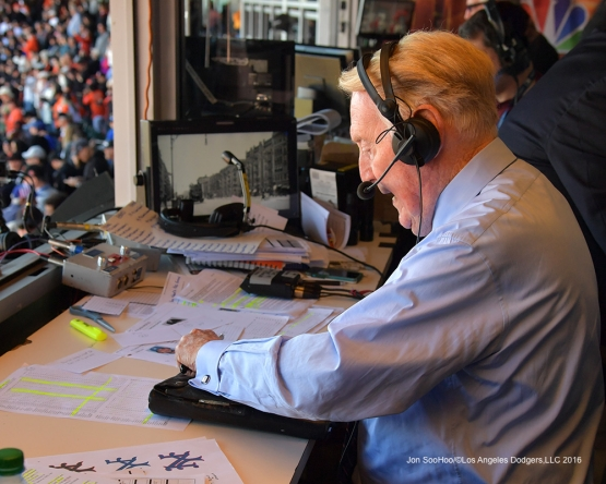 Vin closes the book on a career--Vin Scully calls his last game--Los Angeles Dodgers at San Francisco Sunday, October 2, 2016 at AT&T Park. Photo by Jon SooHoo/©Los Angeles Dodgers,LLC 2016