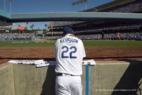 2016 NLDS Game 3---Clayton Kershaw--Los Angeles Dodgers vs Washington Nationals Monday, October 10, 2016 at Dodger Stadium in Los Angeles, California. Photo by Jon SooHoo/© Los Angeles Dodgers, LLC 2016