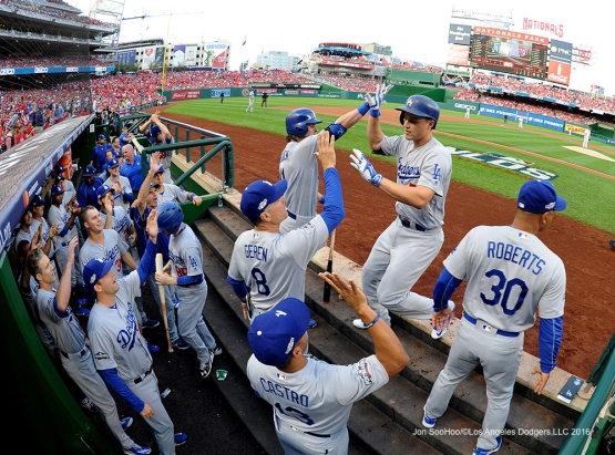2016 NLDS Game One---Corey Seager homers--Los Angeles Dodgers vs Washington Nationals  Friday, October 7, 2016 at Nationals Park in Washington,DC.  Photo by Jon SooHoo/©Los Angeles Dodgers,LLC 2016