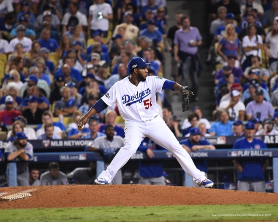 2016 NLCS Game 5---Pedro Baez-Chicago Cubs vs Los Angeles Dodgers Thursday, October 20, 2016 at Dodger Stadium in Los Angeles, California. Photo by Juan Ocampo/© Los Angeles Dodgers, LLC 2016
